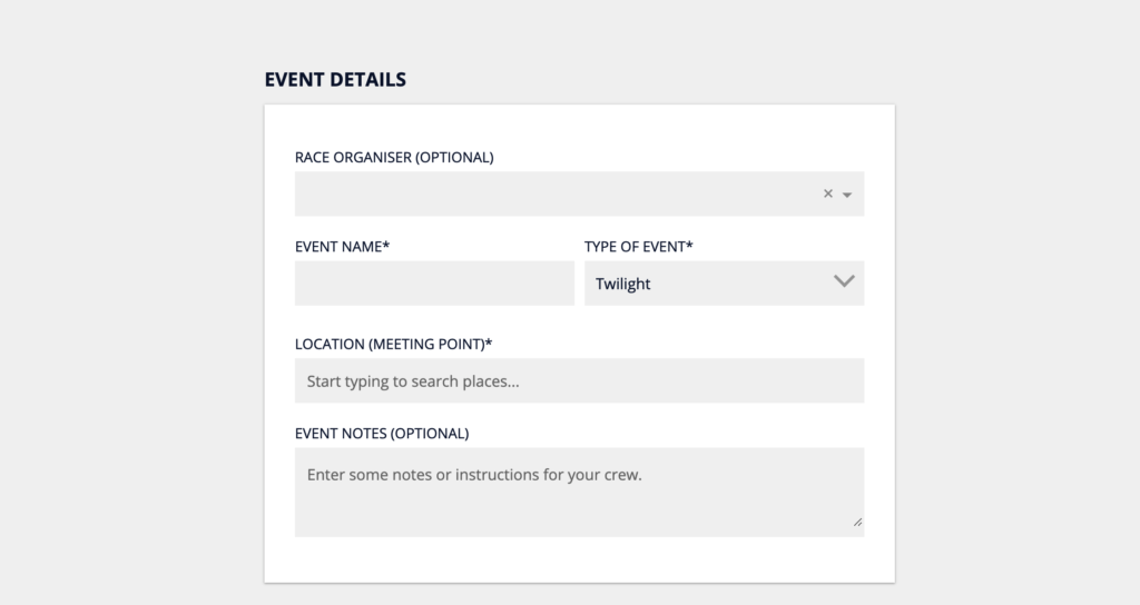 Include Race Organiser and Notes when Scheduling an Event