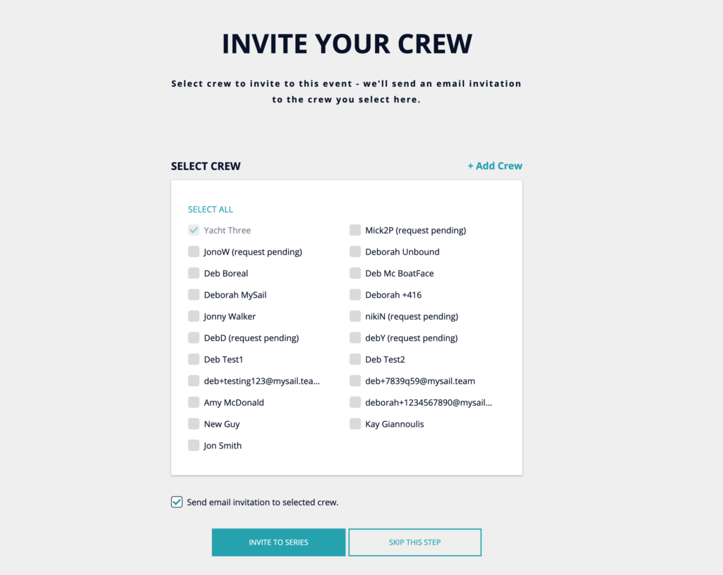 Invite Crew & Select to Send an Invitation Email